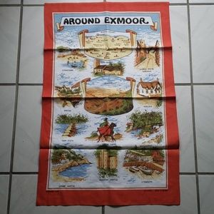 "Vintage UK ""Around Exmoor"" kitchem towel"